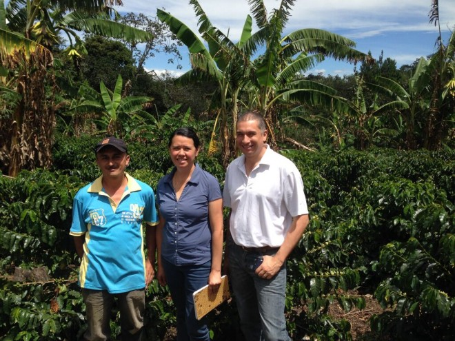 Producer Jesus Cortez gives a tour of his farm to Marcela (F4F Program Director) and German (Corporacion Nueva Ruralidad).