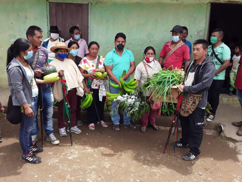 Families donate food in Popayan
