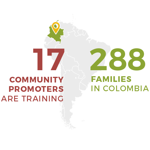 17 promoters training 288 families in colombia - food 4 farmers 2019